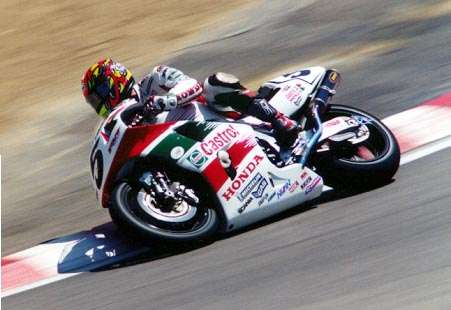 Colin Edwards on his RC45 coming out of The Corkscrew